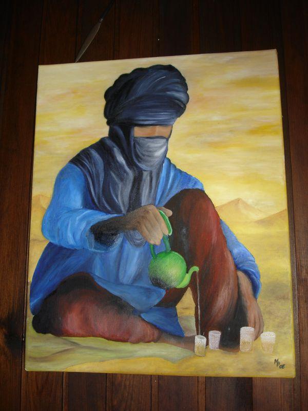 Période saharienne:Touareg préparant le thé.
