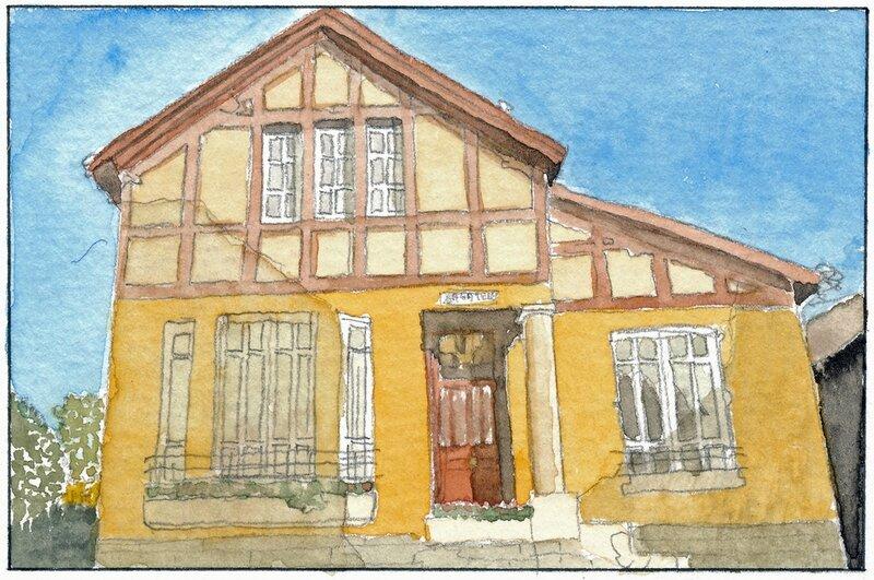 32 Sablé - Façade d'une maison (peut-être rue Aristide Briand) 1992 02 02 (2 de 3)