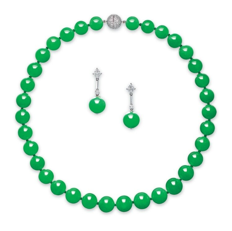A suite of jadeite bead and diamond jewellery
