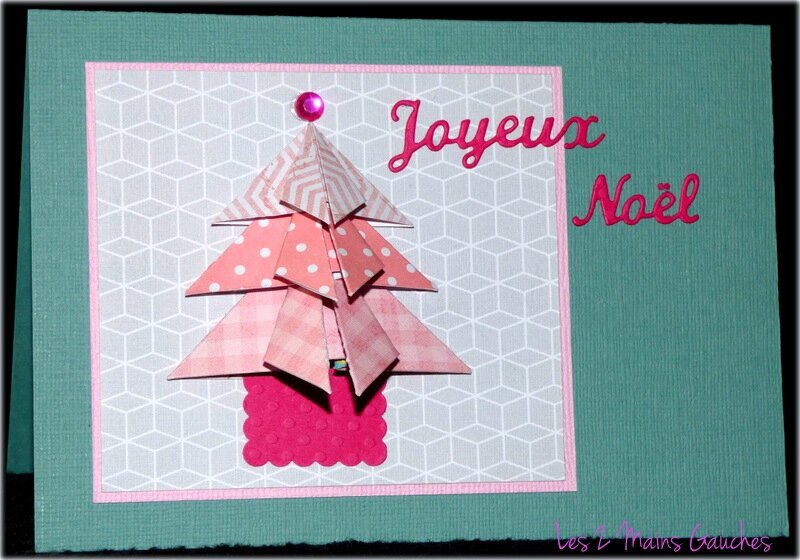 carte de noel bleue avec sapin en origami rose photo de. Black Bedroom Furniture Sets. Home Design Ideas