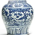 A chinese blue and white baluster jar, ming dynasty, wanli period