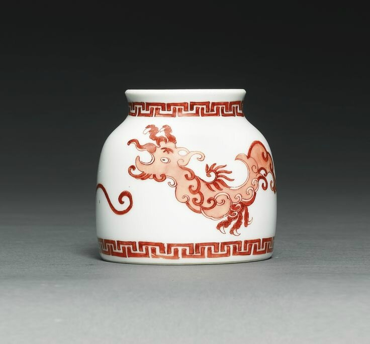 A fine and rare iron-red 'Phoenix' waterpot ,Yongzheng mark and period