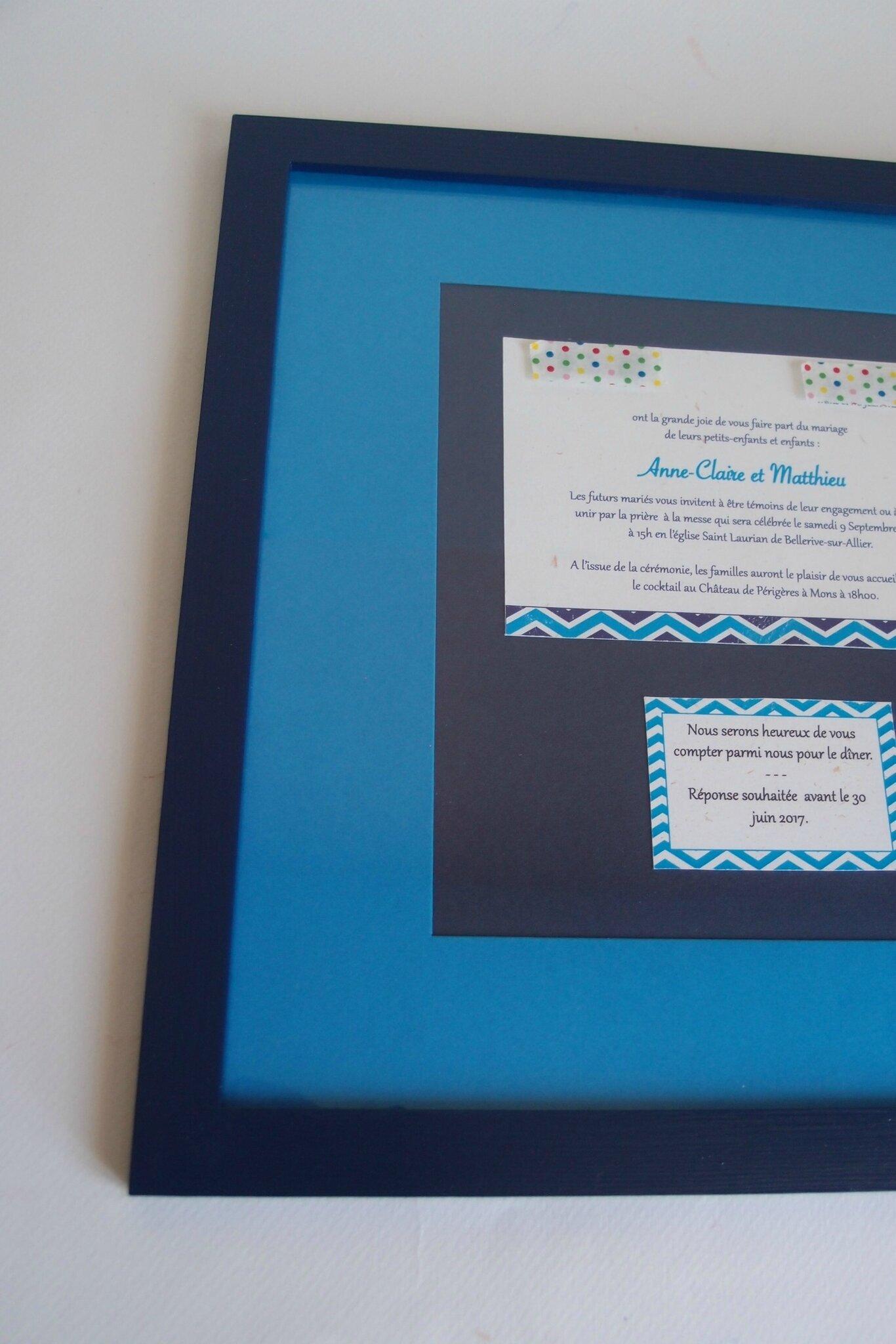 Cadre de Mariage - Bleu azur et bleu ultramarine