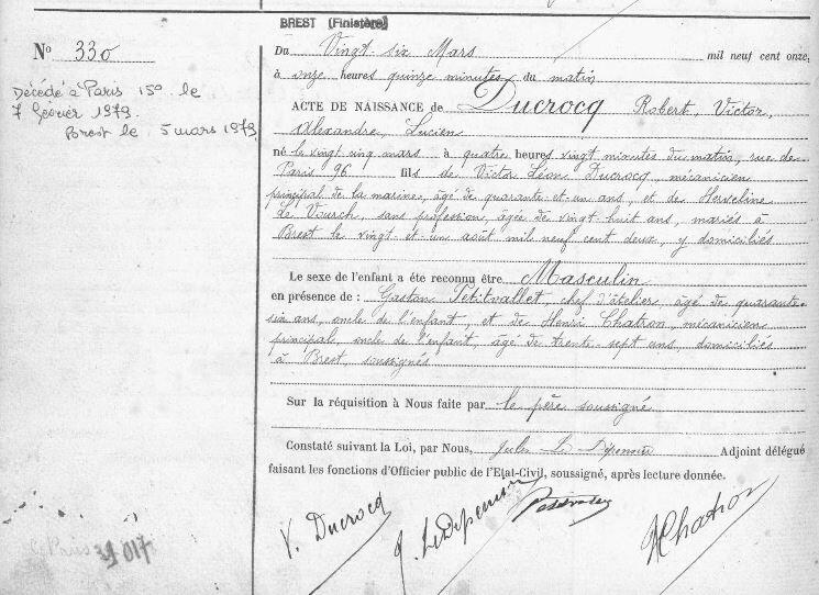 1911 acte de naissance à brest de Robert Ducrocq