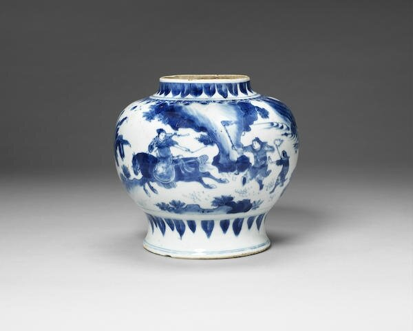 An unusual blue and white baluster jar, Chongzhen