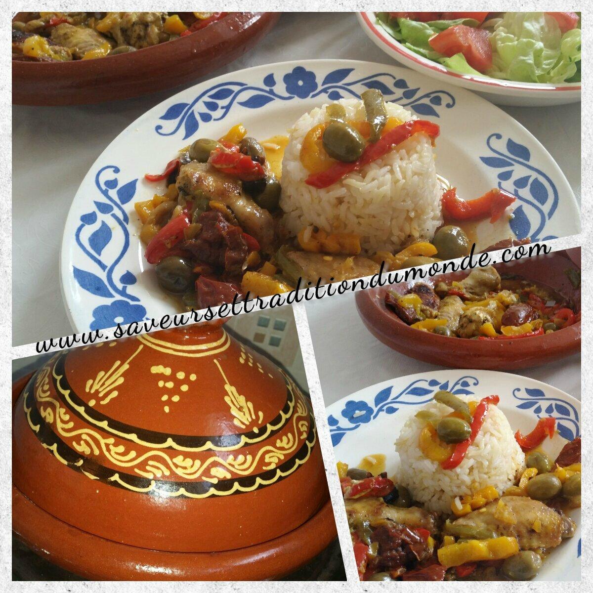 Tajine de poulet aux 3 poivrons accompagner de riz