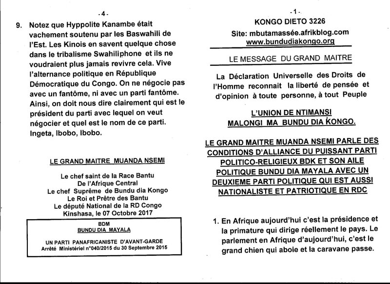 LE GRAND MAITRE MUANDA NSEMI PARLE DES CONDITIONS D'ALLIANCE a