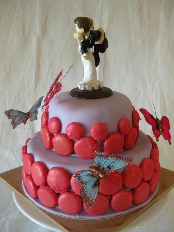 Wedding cake mauve et fushia - Les Hobbies dAurélie