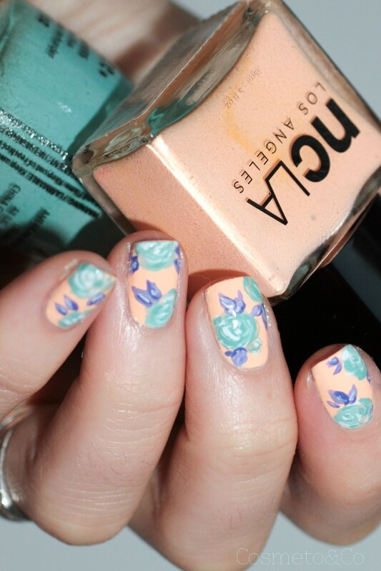 NCLA poolside party all eyes on me! flower nail art