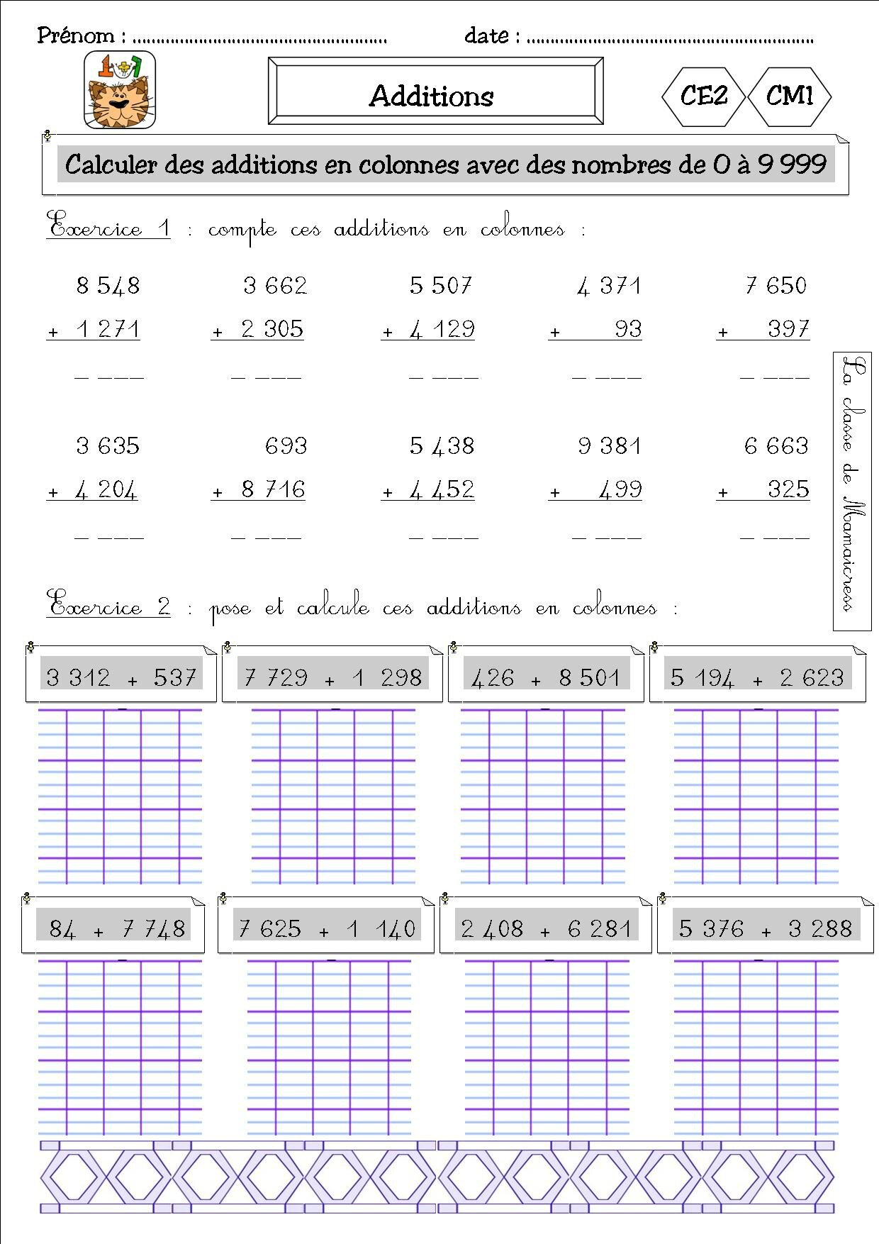 Exercice addition ce2 a imprimer for Mathematique ce2 multiplication
