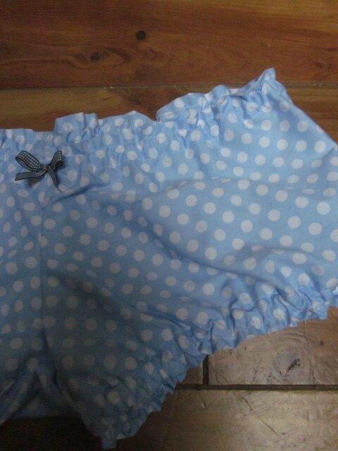 Culotte BIANCA en coton ciel à pois blanc - noeud vichy marine - Taille L (1)