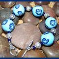 Bracelet fimo fleurs bleues