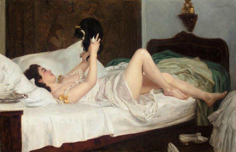 Nikolai-Kornilievich-Bodarevsky-Femme-allongée-avec-un-chat