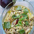 Aubergines confites à l'huile de colza parfumée