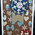 60. blanc, chocolat et bleu - imprimé hivernal