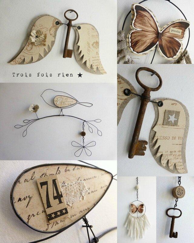 créations fil de fer, fil de fer, trois fois rien, oiseaux fil de fer, ange clé, dreamcatcher (3)