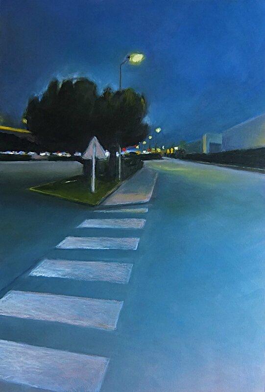 k nowhere 37 tu réclamais le soir il descend le voici, mai 2015, pastel à l'huile 40 x 60 cm