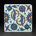 Iznik tile with saz leaves, turkey, second half of the 16th century