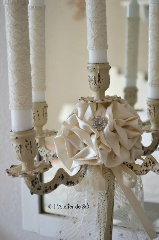 bougeoir 5 branches shabby chic d - 1