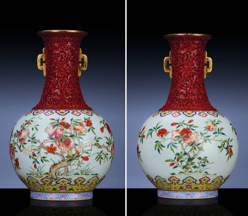 An extremely rare and important carved cinnabar lacquer embellished famille rose vase, Jiaqing six-character sealmark and of the period (1796-1820)