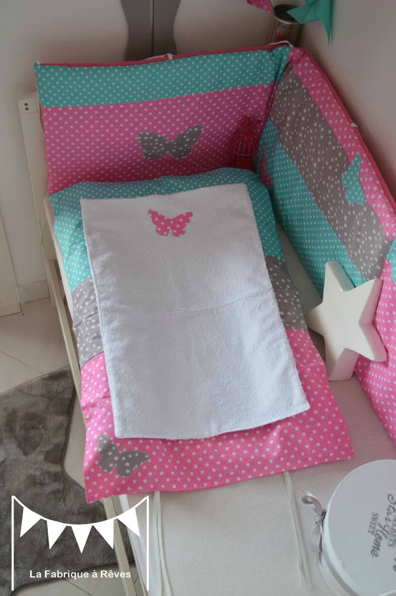 Housse matelas langer chambre b b fille rose turquoise for Deco chambre bebe fille gris rose