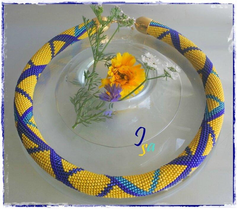 Collier MS 'Reefs 22' jaune & bleu