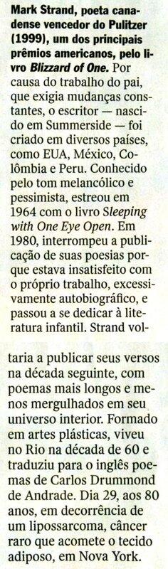 décès de Strand dans Veja