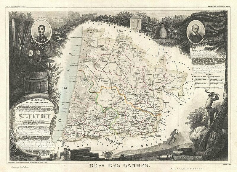 Photo_Levasseur_Map_of_the_Department_des_Landes,_France_-_Geographicus_-_Landes-levasseur-1852