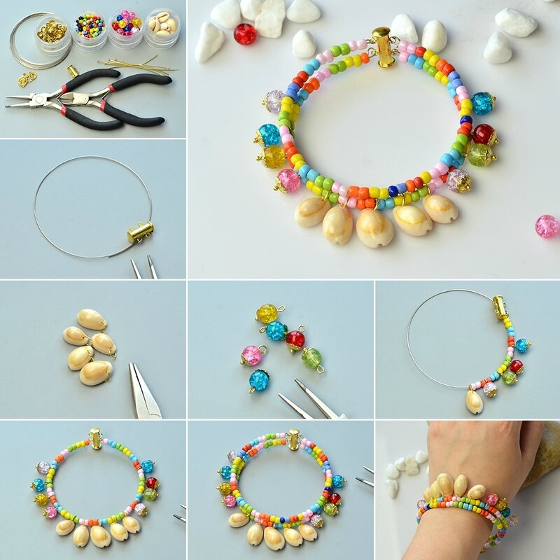 1080-How-to-DIY-Two-strand-Spiral-Shell-Bead-Pendant-Bracelet