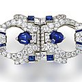 A late art deco sapphire and diamond double clip brooch, raymond yard, circa 1935