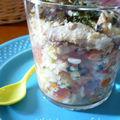 Salade de riz aux légumes, sardines au citron