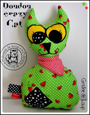 doudou crazy cat vert&fraise