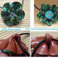 collier pendentif fleur vert turquoise marron