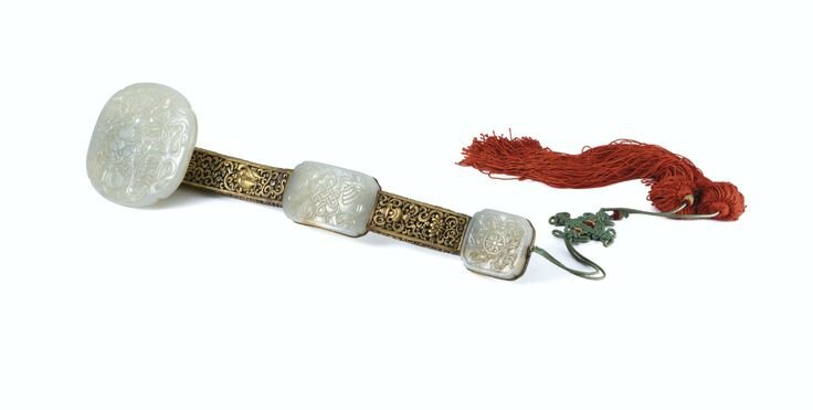 A gilt-copper and white jade ruyi sceptre, Qing dynasty, 19th century