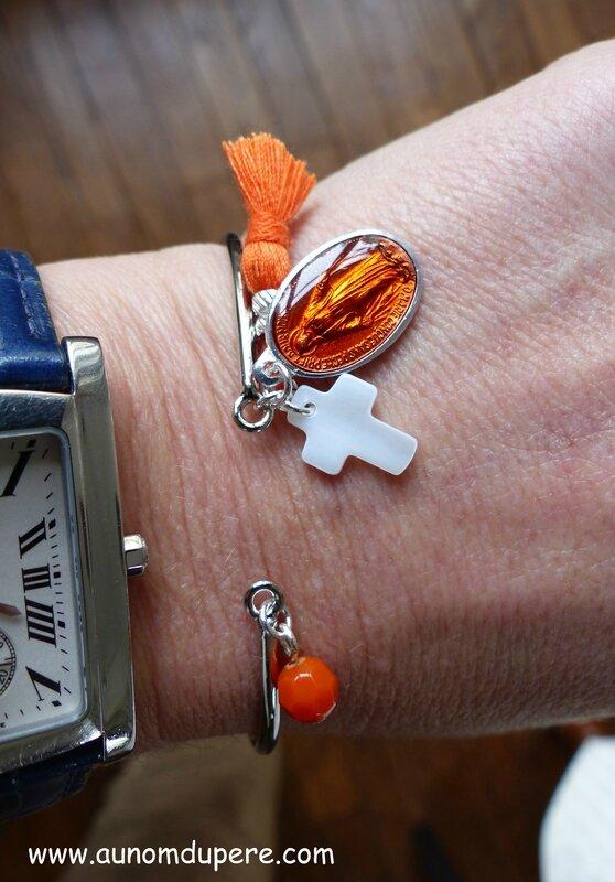 Bracelet Nazareth (orange et argenté) - 16 €