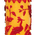 A red overlay yellow glass, cylindrical vase, 19th century