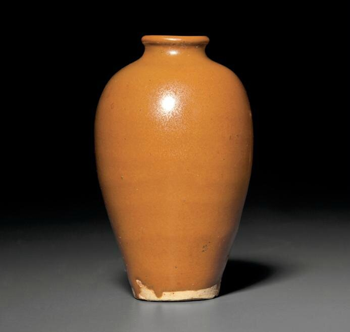 A rare small Yaozhou russet-glazed vase, meiping, Northern Song dynasty (AD 960-1127)