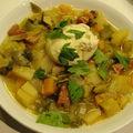 soupe légumes lardons oeuf poché(dans soupe)