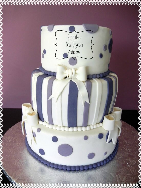 gateau 3 étages violet blanc pois rayures noeud prunillefee 1
