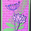 Des fleurs ... du feuillage ... des strass ... une carte de voeux féminine en vert, rose et violet !