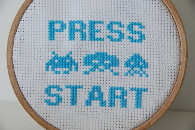 8 bit space invaders cross stitch