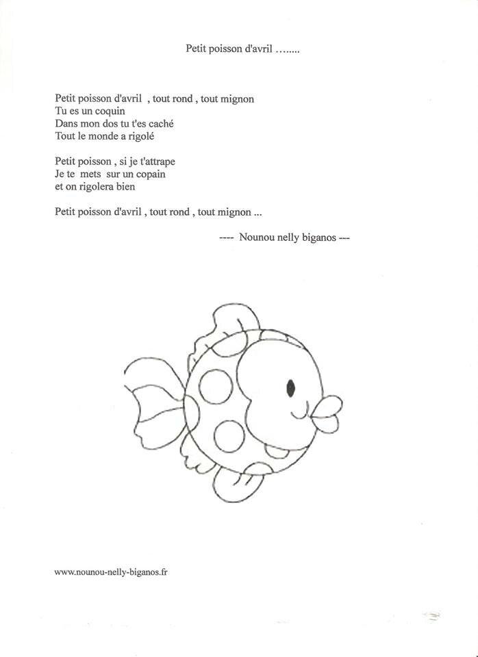 Comptine petit poisson d 39 avril 39 les petites kanailles - Poisson avril maternelle ...