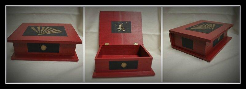 Boîte livre rouge bordeaux évantail