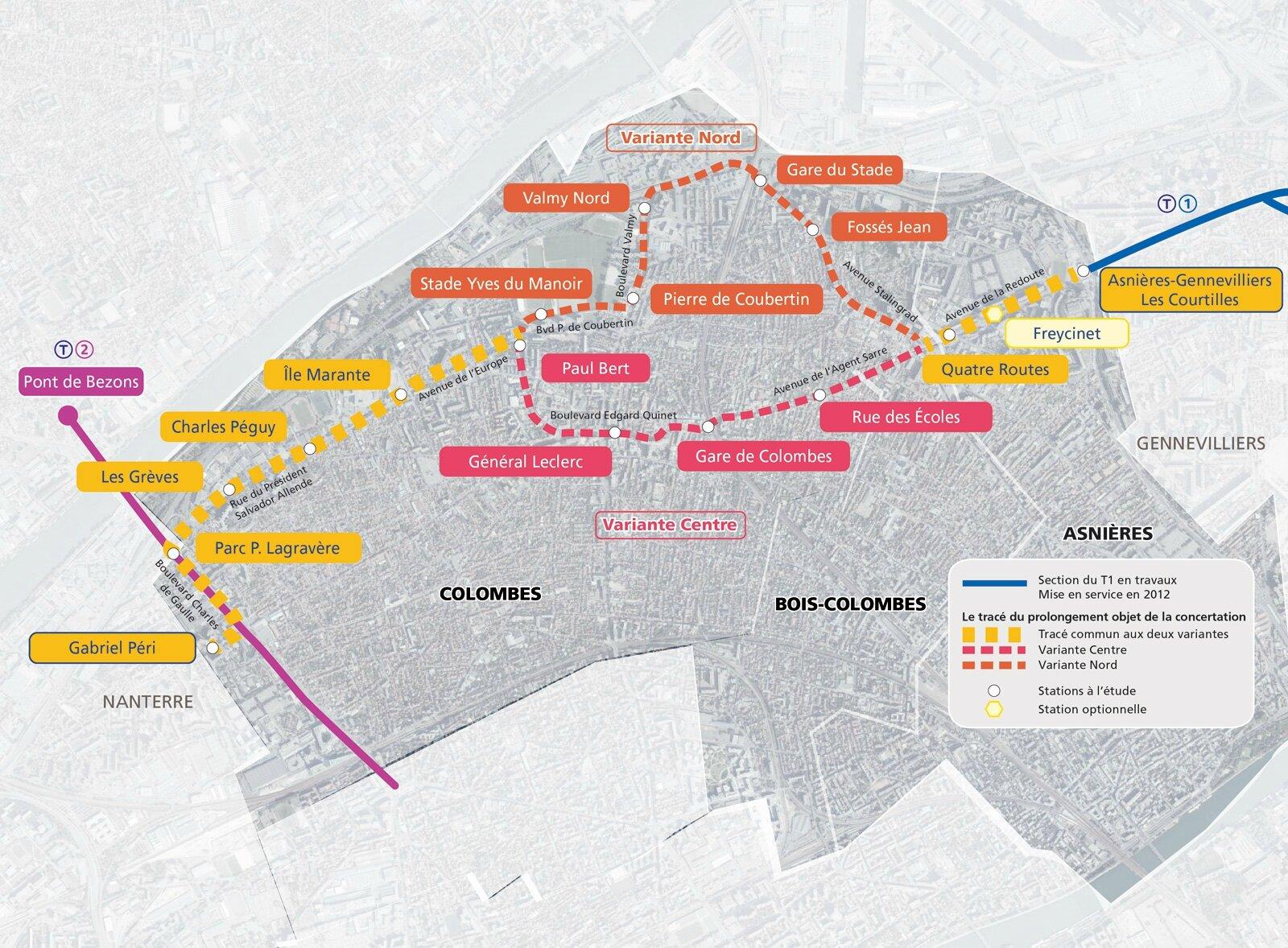 T1 ouest : un tracé absurde dans Colombes - transportparis - Le ...