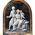 La Sainte Famille, Mdaillon en maux peints sur fond noir en grisaille et paillons d'or. Limoges, fin XVIme.