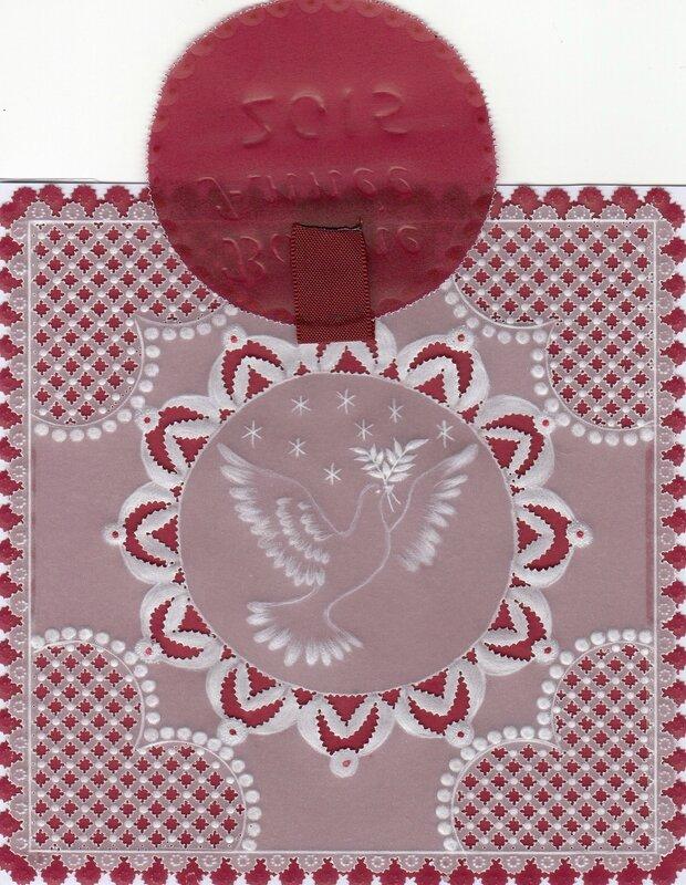 Carte de voeux pergamano avec encart amovible représentant une colombe symbole de paix