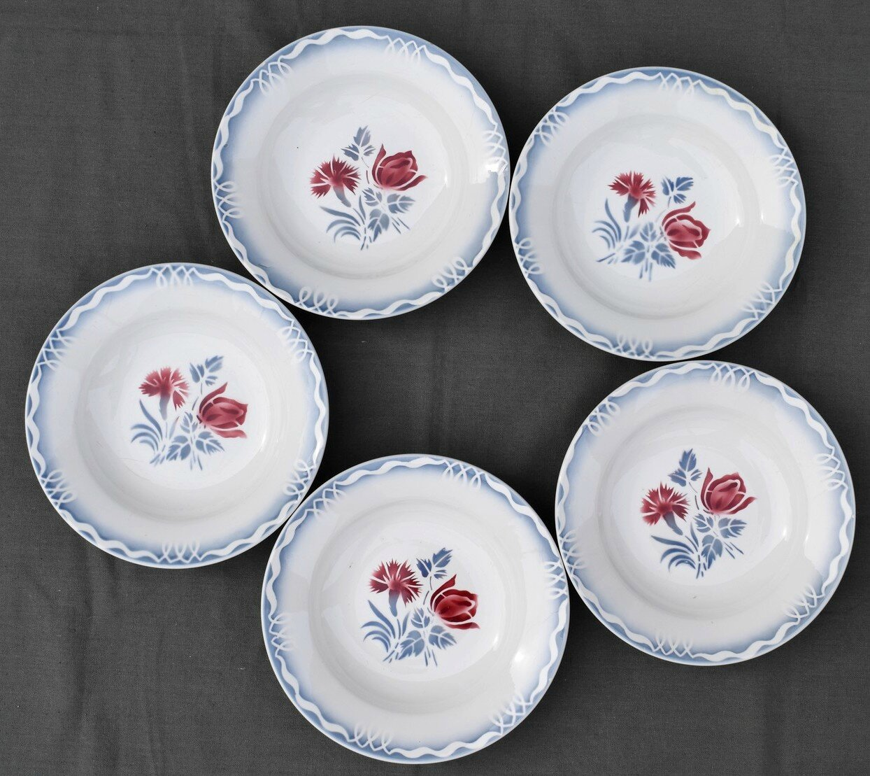 5 ASSIETTES CREUSES DIGOIN ET SARREGUEMINES DECOR JULIETTE