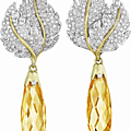 Buccellati. a pair of citrine and diamond ear pendants