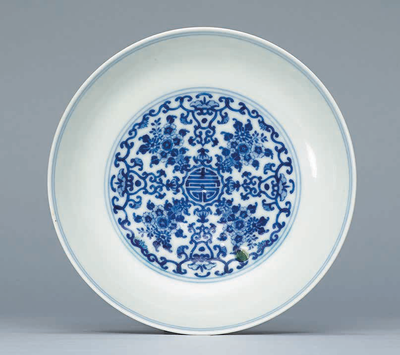 A blue and white 'Bouquet' dish, Yongzheng six-character mark within a double circle in underglaze blue and of the period