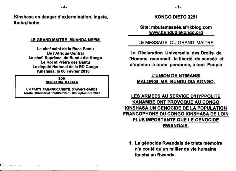 GENOCIDE DE LA POPULATION FRANCOPHONE DU CONGO KINSHASA a